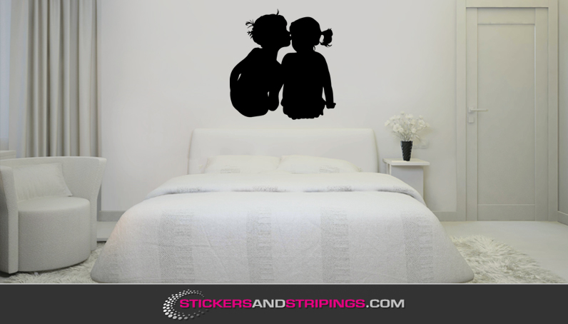 Muursticker jongen en meisje m086 - Slaapkamer meisje jongen samen ...