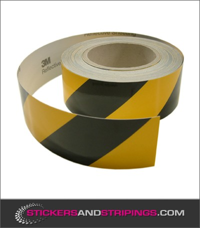 Reflecterende tape 50 mm Zwart / Geel (Rechts)