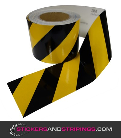 (V) Reflective tape 100 mm Black / Yellow (R)