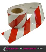 Reflecterende tape 100 mm Rood / Wit (Rechts)