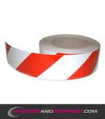 Reflecterende tape 50 mm Rood / Wit (Rechts)
