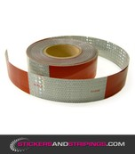 Retro Reflecterende bloktape 50 mm Rood / Wit